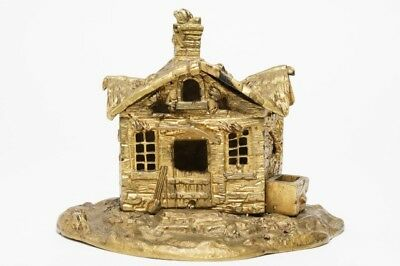 1920's ANTIQUE GILT CAST METAL COTTAGE/OLD THATCHED HOUSE TABLE LAMP