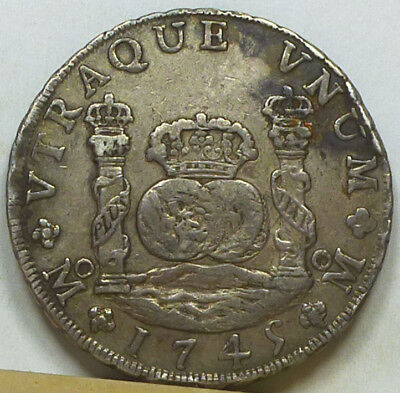 Mexico 8 Reales Treasure Coin 1745 Mo-MF About Extremely Fine