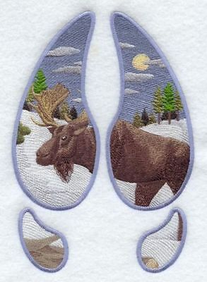 Embroidered Sweatshirt - Moose Track Scene Winter A2618