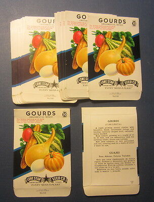 Wholesale Lot of 25 Old Vintage 1950's - GOURDS Ornamental SEED PACKETS - Empty