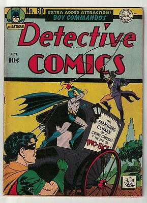 DETECTIVE COMICS issue 80  BATMAN GOLDEN AGE 1943 VG+ 4.5 TWO face appearance