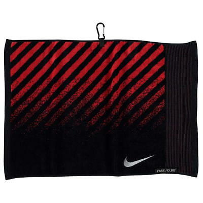 Nike 100% Cotton Golf Towel Black Red Silver Club & Face Unique Ribbed Edge New