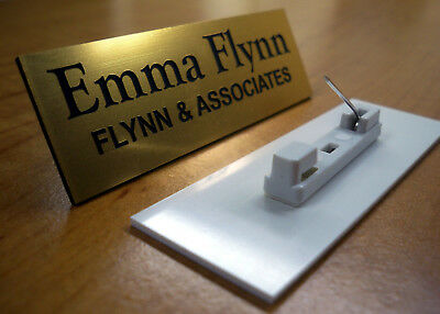 Custom Engraved 1x3 Gold Name Tag | Badge w/ Pin | Employee ID Personalized