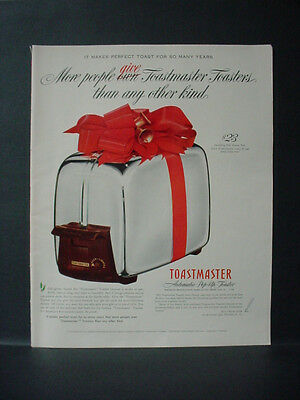 1952 Toastmaster Toaster Christmas Gift Full Page Color Vintage Print Ad 11568