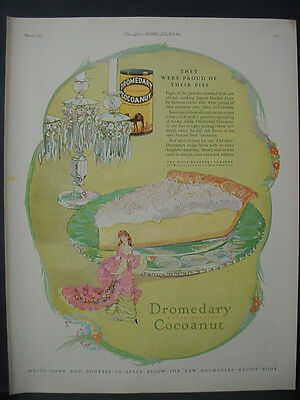 1925 Dromedary Cocoanut Pie Full Page Color Baking Vintage Print Ad 11904