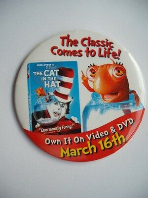 Dr. SEUSS THE CAT IN THE HAT MIKE MYERS in  MOVIE PROMO BUTTON  PINBACK COLLECT