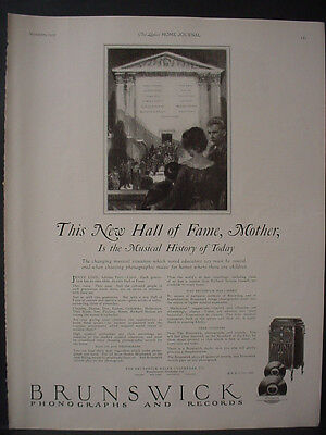 1922 Brunswick Phonographs and Records New Hall of Fame Vintage Print Ad 12036