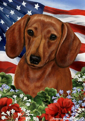 Garden Indoor/Outdoor Patriotic I Flag - Red Shorthaired Dachshund 160391