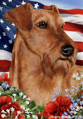Garden Indoor/Outdoor Patriotic I Flag - Irish Terrier 162201
