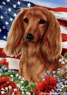 Garden Indoor/Outdoor Patriotic I Flag - Red Longhaired Dachshund 161381