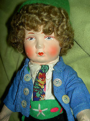 """Handsome 10"""" BING ART antique German c1920s, cloth jointed doll wigged, original"""