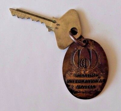 Vintage Continental Plaza Hotel Room Key Chicago Il. Brass Fob and Yale Key