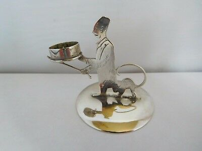 "Wonderful Edwardian English Sterling Silver Novelty ""scaredy Cat"" Chamber Stick"
