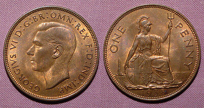 1938 KING GEORGE VI PENNY - Lustrous Top Grade Coin