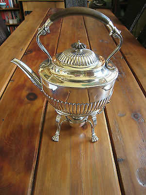 ANTIQUE SOLID SILVER KETTLE WITH BURNER F B THOMAS & CO 1892 1.5kg