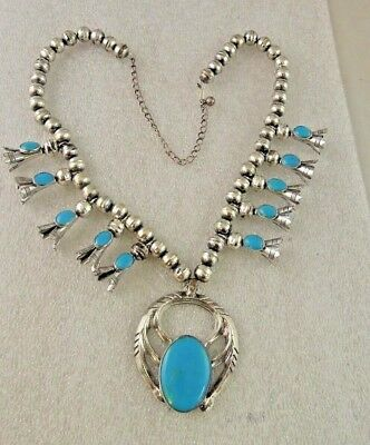 Sterling Silver & Turquoise Squash Blossom Necklace