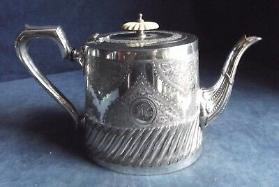 GOOD Victorian ~ SILVER Plated ~ GOTHIC Engraved ~ TEAPOT ~ c1890 ~ Barker Ellis