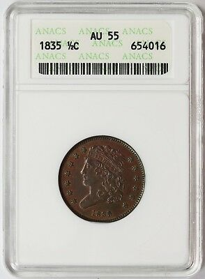 1835 Classic Head Half Cent 1/2C AU 55 ANACS small old holder