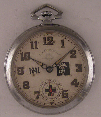 Serviced MILITARY WW2 Years Swiss Systeme Roskopf Pocket Watch A+