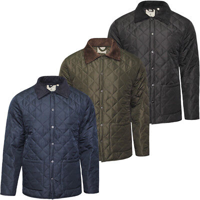 Mens Soulstar Diamond Quilted Jacket Padded Cord Patches Coat New