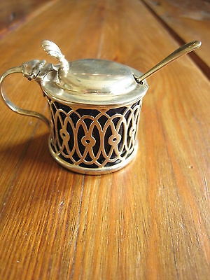 Silver Mustard Pot, Blue Glass Liner Deakin & Francis & Spoon 1897