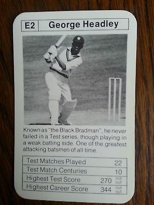 George Headley West Indies Master Batsman Rare Trading Card 1970's