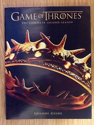 Blu-ray Episode Guide for Game of Thrones Season 2  -  Small Booklet - NO DISCS