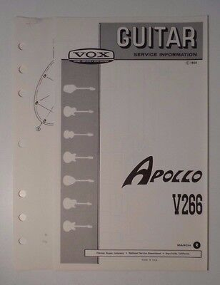 Original 1968 VOX Guitar -Apollo V266  Service Information