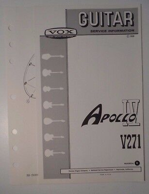 Original 1968 VOX Guitar -Apollo IV V271  Service Information