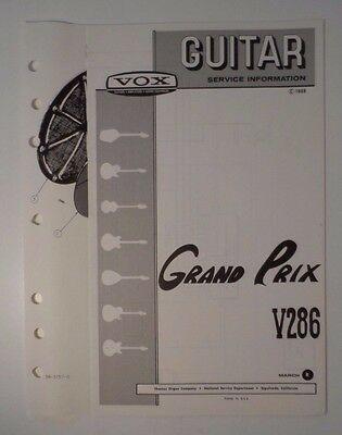 Original 1969 VOX Guitar - Grand Prix V286  Service Information