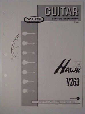 Original 1969 VOX Guitar -Hawk IV V263  Service Information