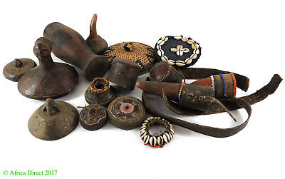 15 Miscellaneous Pieces Basket and Gourd Lids Africa