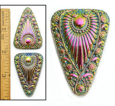 XL 45mm Vintage Czech Glass Egyptian Revival Rainbow AB Triangle RAY Buttons 2pc