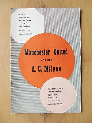 MANCHESTER UNITED v AC MILAN European Cup Semi-Final 1957/1958 VG Cond - Munich