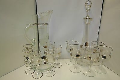 Decanter Set w/ 11 Glasses Carved Cut Roses & Silver Leaves