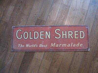 Vintage large red Golden Shred 'the world's best marmalade food advertising sign