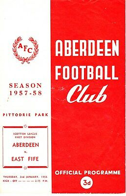 ABERDEEN v East Fife, 2nd January 1958, Scottish League Division One
