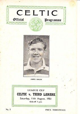 CELTIC v Third Lanark, 11th August 1951, Scottish League Cup section