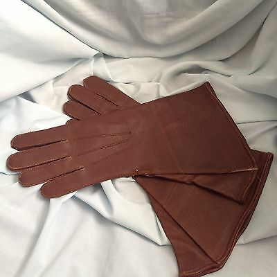 Vintage Brown Leather Motorcycle Style Pilots Gauntlet Gloves Unused