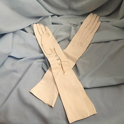 Edwardian Ladies Long Dress White Kid Leather Gloves Size 6 1/2