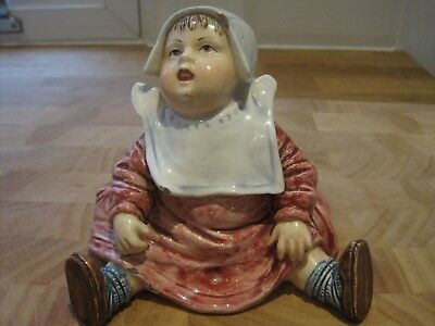 Rare 1890s German quality porcelain pink piano baby child figurine, match holder