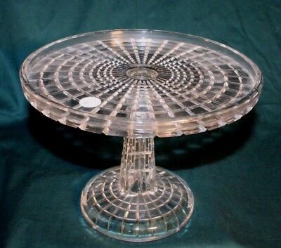 """EAPG Incredible """"Block"""" Cake Stand by Riverside Glass - 9 1/2"""""""