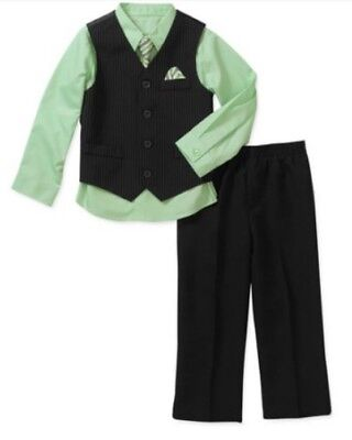 New Nwt  4 Piece Black Mint Green Pinstripe Suit Outfit Wedding Holiday Size 10