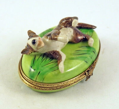 New Authentic French Limoges Trinket Box Bull Terrier Dog Puppy On Green Grass