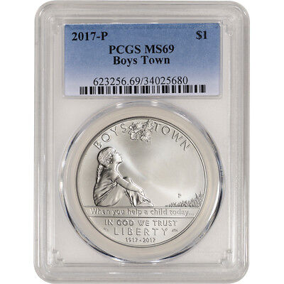 2017-P US Boys Town Commemorative BU Silver Dollar - PCGS MS69