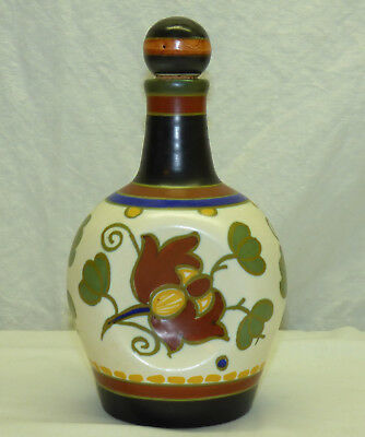 Vintage Gouda Holland Art Pottery Musical Decanter Bottle - O Du Lieber Augustin