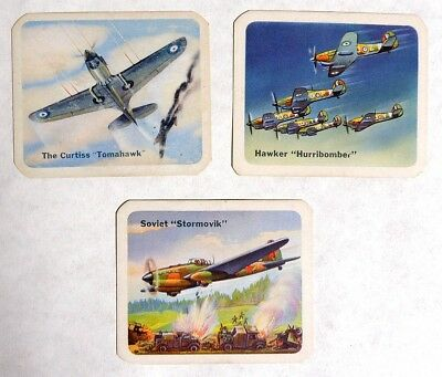 P859. Vintage Lot of 3: UNITED NATIONS BATTLE PLANES Cards Cracker Jack 1950s [