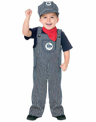 Striped Overalls Train Engineer Conductor Toddler Costume