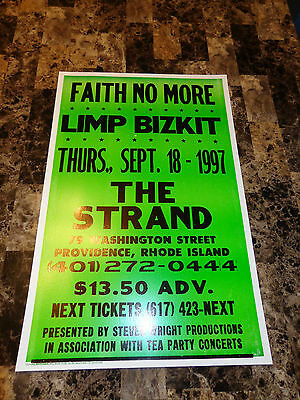 Faith No More Rare Concert Gig Poster Album Of The Year Mike Patton Limp Bizkit