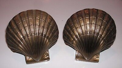 Vintage PM Craftsman Brass Seashell Bookends